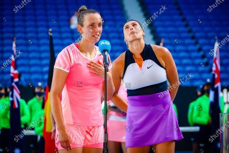 Elise Mertens (WTA 6), Aryna Sabalenka (WTA 5) pictured after winning a tennis match between Belgian-Belarussian pair Mertens-Sabalenka and Czech pair Krejcikova - Siniakova, in the final of the women's doubles competition of the 'Australian Open' tennis Grand Slam, Friday 19 February 2021 in Melbourne Park, Melbourne, Australia.