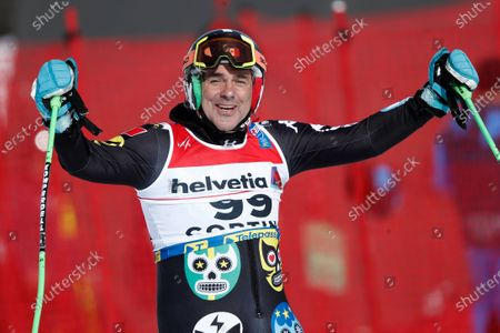 Stock Photo of 62-year-old Mexico's Hubertus Von Hohenlohe smiles after going out during a men's giant slalom, at the alpine ski World Championships, in Cortina d'Ampezzo, Italy