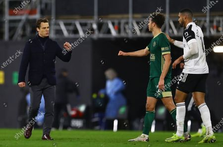 Fulham manager Scott Parker and Ethan Ampadu of Sheffield United at full time