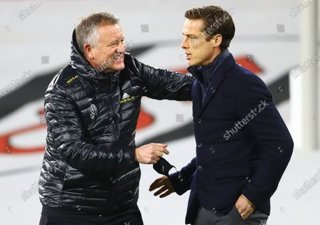 Sheffield United manager Chris Wilder and Fulham Manager Scott Parker talk before kick off