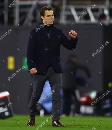 Fulham Manager Scott Parker celebrates at full time
