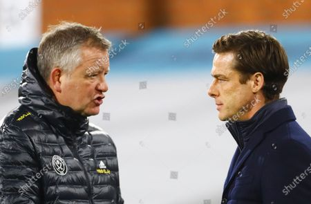 Stock Image of Sheffield United Manager Chris Wilder chats with Fulham manager Scott Parker ahead of the warm up