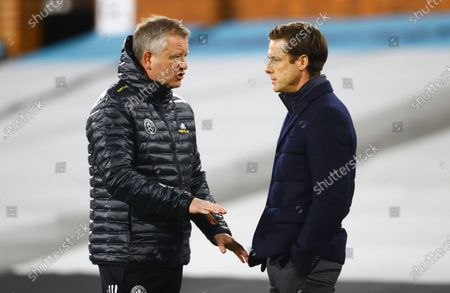 Stock Picture of Sheffield United Manager Chris Wilder chats with Fulham manager Scott Parker ahead of the warm up