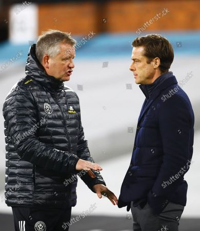 Sheffield United Manager Chris Wilder chats with Fulham manager Scott Parker ahead of the warm up