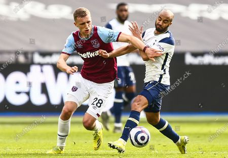 Stock Picture of Tomas Soucek of West Ham United battles with Lucas Moura of Tottenham Hotspur