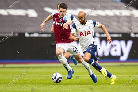 Stock Photo of Declan Rice of West Ham United battles with Lucas Moura of Tottenham Hotspur