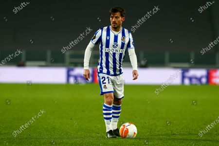 David Silva of Real Sociedad during the first leg of round of 32 of UEFA Europa League between Real Sociedad and Manchester United FC at Juventus Stadium on February 18, 2021 in Turin, Italy.