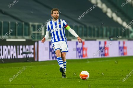 Stock Picture of Asier Illarramendi of Real Sociedad during the first leg of round of 32 of UEFA Europa League between Real Sociedad and Manchester United FC at Juventus Stadium on February 18, 2021 in Turin, Italy.Real Sociedad lost 0-4 over Manchester United. (Photo by Massimiliano Ferraro/NurPhoto)