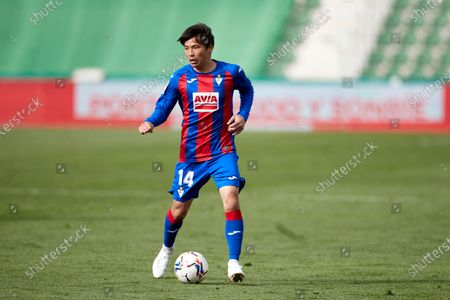 Takashi Inui of SD Eibar in action during the La Liga match between Elcche CF and SD Eibar at Martinez Valero stadium on February 20, 2021 in Elche, Spain.