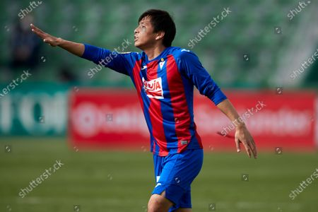 Takashi Inui of SD Eibar reacts during the La Liga match between Elcche CF and SD Eibar at Martinez Valero stadium on February 20, 2021 in Elche, Spain.