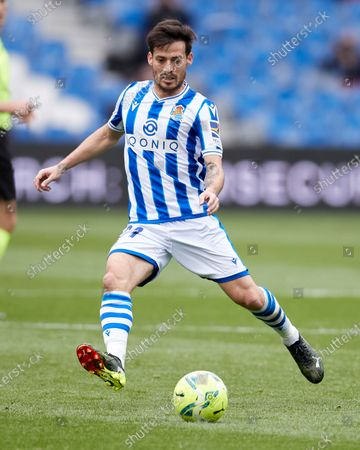 Stock Photo of David Silva of Real Sociedad CF in action during the La Liga match between Real Sociedad CF and Deportivo Alaves at Reale Arena on February 21, 2021 in San Sebastian, Spain.