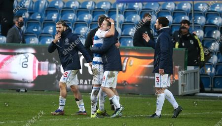 Stefan Johansen of QPR (goalscorer #4) celebrates victory with  Yoann Barbet of QPR  at the final whistle -  Charlie Austin of QPR (L) Lee Wallace of QPR  (R)