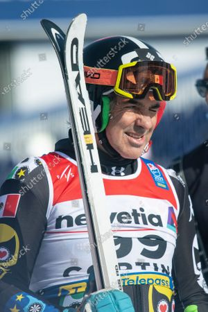 Hubertus Von Hohenlohe of Mexico reacts in the finish area after the first run of the Men's Giant Slalom race at the FIS Alpine Skiing World Championships in Cortina d'Ampezzo, Italy, 19 February 2021.