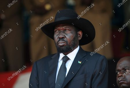 """South Sudan's President Salva Kiir attends the state funeral of Kenya's former president Daniel arap Moi, at Nyayo Stadium in the capital Nairobi, Kenya. The scale of violence in South Sudan is """"a lot worse"""" than during the country's five-year civil war, a United Nations commission announced Friday, Feb. 19, 2021, accusing senior officials of supporting armed groups that at times have included tens of thousands of fighters"""