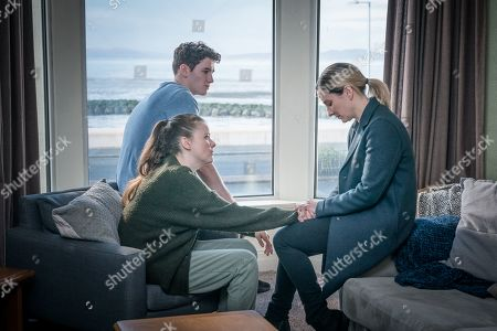 Art Parkinson as Rob Armstrong, Imogen King as Abbie Armstrong and Morven Christie as DC Lisa Armstrong