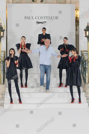 Models with fashion designer, Paul Costelloe