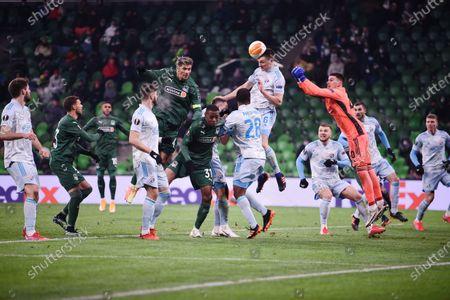 Dynamo Z goalkeeper Dominik Livakovic (third right) during the match.