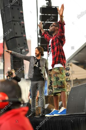 Tinie Tempah and Eric Turner performs in concert during the B96 Pepsi Summerbash at Toyota Park in Bridgeview, Illinois.