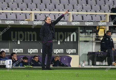 Fiorentina's head coach Cesare Prandelli gestures during the Italian Serie A soccer match between ACF Fiorentina and Spezia Calcio at the Artemio Franchi stadium in Florence, Italy, 19 February 2021.