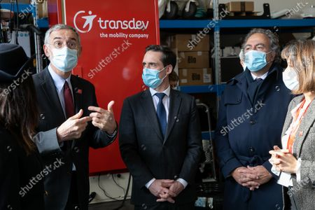 Stock Picture of Thierry Mallet CEO of the Transdev group, Jean-Baptiste Djebbari, Minister of Transport and Luc Chatel Pdt of the Automotive platform. Jean-Baptiste Djebbari, Minister of Transport visits MobiLAB, where the Autonomous Transport Systems team of the Transdev group, and the VEDECOM Institute for Energy Transition are located.