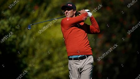 Adam Scott, of Australia, tees off on the fourth hole during the second round of the Genesis Invitational golf tournament at Riviera Country Club, in the Pacific Palisades area of Los Angeles