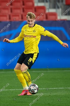 Stock Picture of Julian Brandt of Dortmund controls the ball during the UEFA Champions League Round of 16 match between Sevilla FC and Borussia Dortmund at Estadio Ramon Sanchez Pizjuan on February 17, 2021 in Seville, Spain.