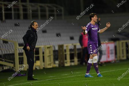 "Dusan Vlahovic (Fiorentina)Cesare Prandelli Coach (Fiorentina)     celebrates after scoring his team's first goal       during the Italian ""Serie A match between Fiorentina 3- 0 Spezia  at  Artemio Franchi Stadium in Florence, Italy."