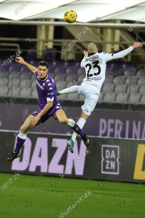 "Nikola Milenkovic (Fiorentina)Riccardo Saponara (Spezia)            during the Italian ""Serie A match between Fiorentina 3- 0 Spezia  at  Artemio Franchi Stadium in Florence, Italy."