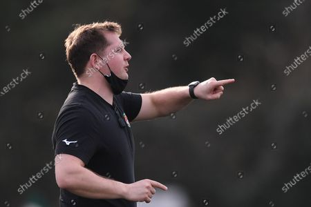 Stock Picture of Ben Ward Director of Rugby for Ealing Trailfinders offers advice to his team; Trailfinders Sports Club, London, England; Trailfinders Challenge Cup Rugby, Ealing Trailfinders versus Doncaster Knights.