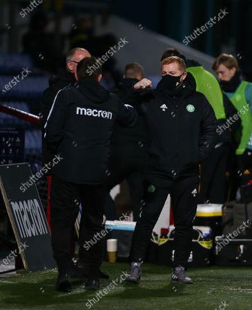 Celtic Manager Neil Lennon greets Ross County manager John Hughes; Global Energy Stadium, Dingwall, Highlands, Scotland; Scottish Premiership Football, Ross County versus Celtic.