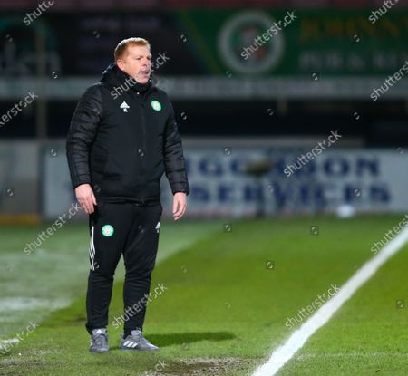 Stock Image of Celtic Manager Neil Lennon shouts instructions to his side; Global Energy Stadium, Dingwall, Highlands, Scotland; Scottish Premiership Football, Ross County versus Celtic.