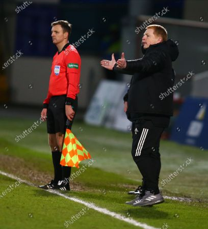 Celtic Manager Neil Lennon animated with his arms outstretched; Global Energy Stadium, Dingwall, Highlands, Scotland; Scottish Premiership Football, Ross County versus Celtic.