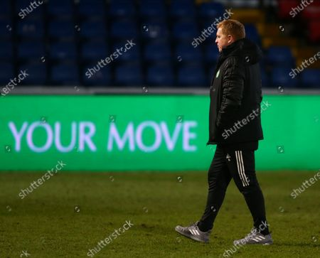 Stock Picture of Celtic Manager Neil Lennon leaves the pitch after the defeat; Global Energy Stadium, Dingwall, Highlands, Scotland; Scottish Premiership Football, Ross County versus Celtic.