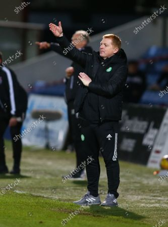 Celtic Manager Neil Lennon tries to get instructions in to his players; Global Energy Stadium, Dingwall, Highlands, Scotland; Scottish Premiership Football, Ross County versus Celtic.
