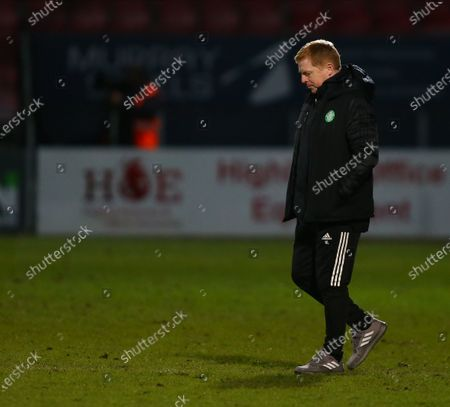 Celtic Manager Neil Lennon walks across the pitch with his head down after the final whistle; Global Energy Stadium, Dingwall, Highlands, Scotland; Scottish Premiership Football, Ross County versus Celtic.