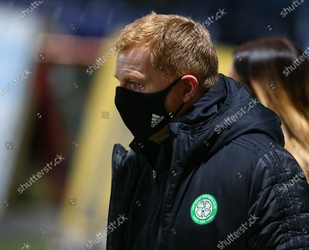 Celtic Manager Neil Lennon watches his players pre-game; Global Energy Stadium, Dingwall, Highlands, Scotland; Scottish Premiership Football, Ross County versus Celtic.