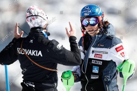 Slovakia's Petra Vlhova listens to her coach Livio Magoni prior to the second run of the women's slalom, at the alpine ski World Championships in Cortina d'Ampezzo, Italy