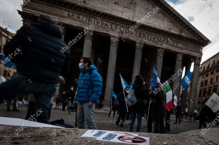 Editorial picture of Former M5S activists demonstrate in Piazza del Pantheon against Premier Draghi and Europe, Rome, Italy - 17 Feb 2021