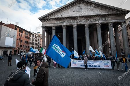 Editorial image of Former M5S activists demonstrate in Piazza del Pantheon against Premier Draghi and Europe, Rome, Italy - 17 Feb 2021