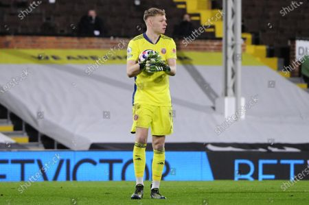 Stock Photo of Aaron Ramsdale of Sheffield United in action during Premier League match between Fulham and Sheffield United at Craven Cottage in London - 20th February 2021
