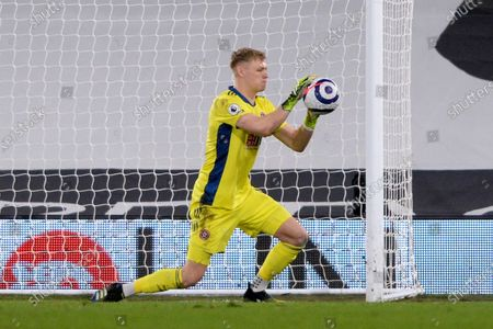 Aaron Ramsdale of Sheffield United in action during Premier League match between Fulham and Sheffield United at Craven Cottage in London - 20th February 2021
