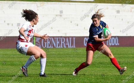 Spain Women Sevens player Maria Marin (R) in action during the match held between Spain and France in the Rugby 7s International Tournament in Madrid, Spain, 20 February 2021.