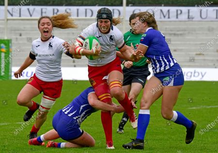 Spain Women Sevens players Marina Bravo (C) and Maria Marin (L) in action during the match between Spain Women Sevens and Russia Women sevens in the Rugby 7s International Tournament in Madrid, Spain, 21 February 2021.
