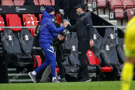 Chelsea manager Thomas Tuchel (L) shakes hand with Southampton manager Ralph Hasenhuettl  (R) after the English Premier League soccer match between Southampton FC and Chelsea FC in Southampton, Britain, 20 February 2021.