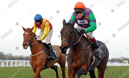CODE NAME LISE (right, Richard Johnson) beats MISS FAIRFAX (left) in The Dingley's Promise British EBF Mares Standard Open National Hunt Flat Race Ascot