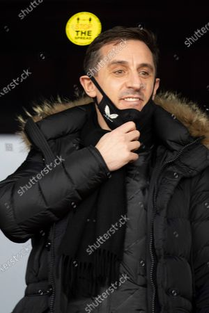 Gary Neville during the EFL Sky Bet League 2 match between Salford City and Carlisle United at the Peninsula Stadium, Salford