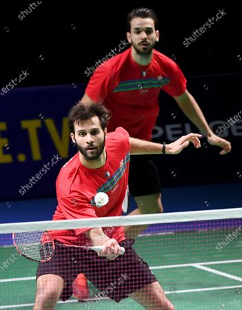 Ronan Labar (front) and Julien Maio of France play against Kim Astrup and Anders Skaarup Rasmussen (not pictured) of Denmark during the Badminton 2021 European Mixed Team Championships final match between Denmark and France in Vantaa, Finland, on February 20, 2021.