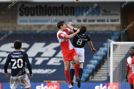 Wycombe Wanderers Midfielder David Wheeler(7) and Millwall midfielder Ben Thompson(8)  battles for possession  during the EFL Sky Bet Championship match between Millwall and Wycombe Wanderers at The Den, London