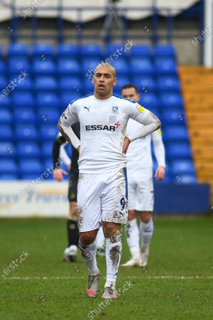 Tranmere Rovers striker James Vaughan (9) during the EFL Sky Bet League 2 match between Tranmere Rovers and Oldham Athletic at Prenton Park, Birkenhead