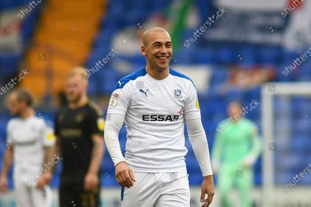 Tranmere Rovers striker James Vaughan (9) gestures during the EFL Sky Bet League 2 match between Tranmere Rovers and Oldham Athletic at Prenton Park, Birkenhead